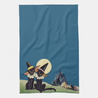 Vintage Halloween Black Cats Tea Towel