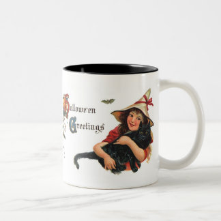 Vintage Halloween Greetings, Cute Witch and Cat Mugs
