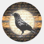 Vintage Halloween Nevermore Raven Stickers