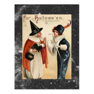 Vintage Halloween Old Witch and Stylish Lady Postcard