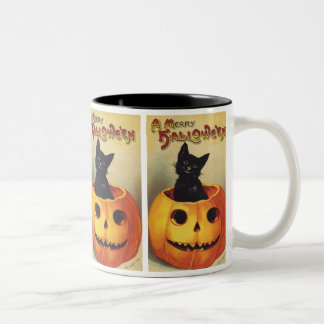 Vintage Halloween Smiling Cute Black Cat Pumpkin Mug