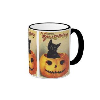 Vintage Halloween Smiling Cute Black Cat Pumpkin Mugs