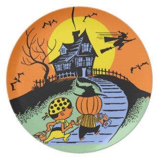 Vintage Halloween Trick Or Treat Kids Plates