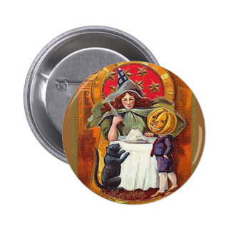 Vintage Halloween Witch and Pumpkin Head Boy 6 Cm Round Badge