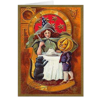 Vintage Halloween Witch and Pumpkin Head Boy Greeting Card