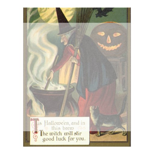 Vintage Halloween Witch Stirring Magic Cauldron 21.5 Cm X 28 Cm Flyer