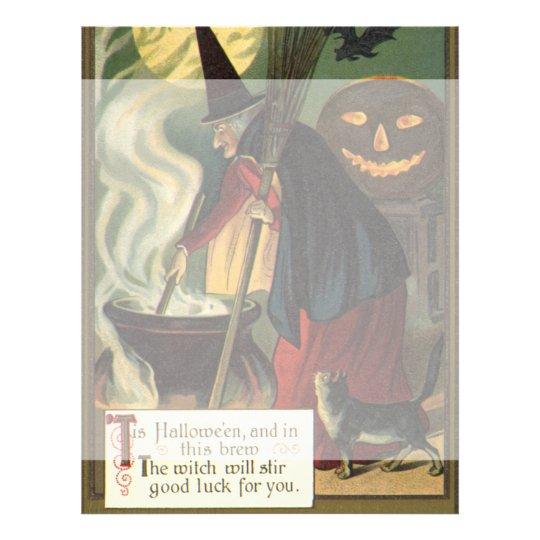 Vintage Halloween Witch Stirring Magic Cauldron Flyer