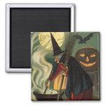 Vintage Halloween Witch Stirring Magic Cauldron Fridge Magnet