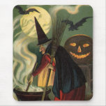 Vintage Halloween Witch Stirring Magic Cauldron Mousepad