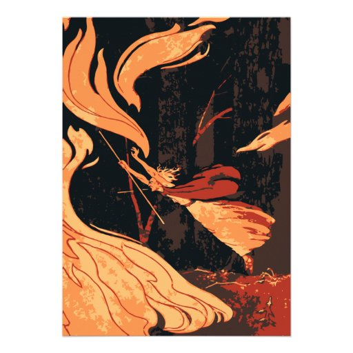 Vintage Halloween Witch with Fire and Flames Personalized Invitations