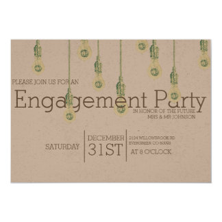 Vintage Hanging Lightbulbs | Engagement Party 13 Cm X 18 Cm Invitation Card