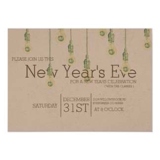 Vintage Hanging Lightbulbs | New Years Eve Party Card
