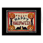 Vintage Happy Halloween Pumpkins Black Cats Card