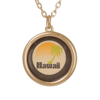 Vintage Hawaii Logo Gold Plated Necklace