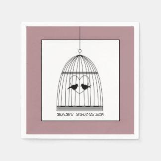Vintage Heart Birdcage Baby Shower Paper Serviettes