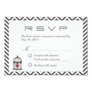 Vintage Heart in Bird Cage Chevron Wedding RSVP Card