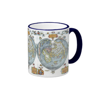 Vintage Heart Shaped Antique World Map Peter Apian Coffee Mugs