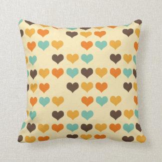 Vintage Hearts Colors Throw Cushion