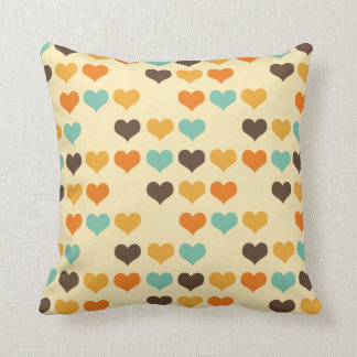 Vintage Hearts Colors Throw Cushion