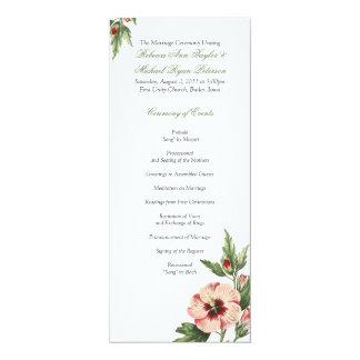 Vintage Hibiscus Floral Wedding Wedding Program 4x9.25 Paper Invitation Card