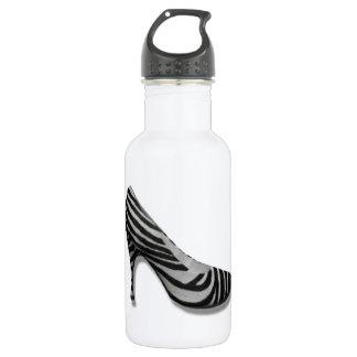 Vintage High Heel Zebra Stripe Shoes Pump 532 Ml Water Bottle