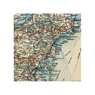 Vintage Highway Map East Coast United States Wood Print