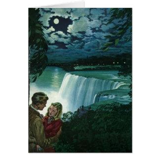 Vintage Honeymoon Love, Newlyweds at Niagara Falls Card