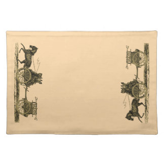 Vintage Horse Drawn Fire Engine Illustration Placemat