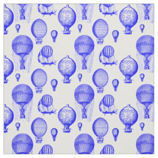 Vintage Hot Air Balloons in Blue Fabric