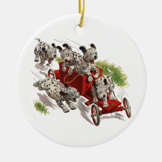 Vintage Humor Cute Dalmatian Puppy Dogs Fire Truck Christmas Ornament