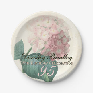 Vintage Hydrangea 95th Birthday Party Paper Plates 7 Inch Paper Plate