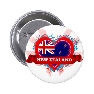 Vintage I Love New Zealand 6 Cm Round Badge