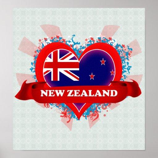 Vintage I Love New Zealand Poster