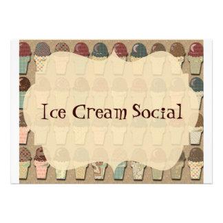 Vintage Ice Cream Social Announcements