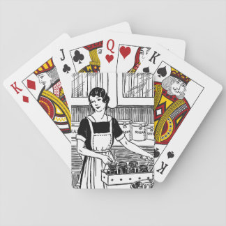Vintage illustration woman in kitchen playing card