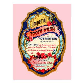 Vintage Imperial Tooth Wash Label Postcard