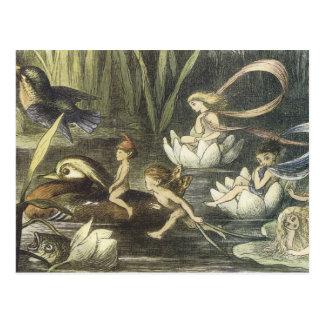 Vintage In Fairyland,1870 Fairies And Waterlilies Postcard