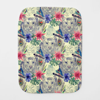Vintage Indian Style Tiger Pattern Baby Burp Cloths