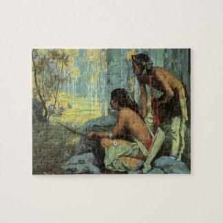 Vintage Indians, Taos Turkey Hunters by Couse Jigsaw Puzzle