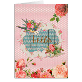 """vintage inspired, """"Hello"""", blank greeting card"""