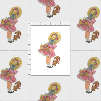 Vintage Inspired Little Girl with Dog Print Fabric