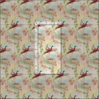 Vintage Inspired Pheasant Bird Fabric Print