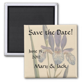 Vintage Iris Flowers Floral Save the Date Magnet
