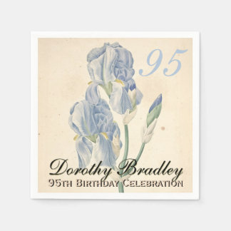 Vintage Irises 95th Birthday Party Paper Napkins Standard Cocktail Napkin