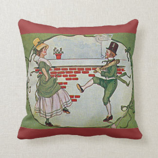 vintage Irish dancers and celtic cross Throw Pillow