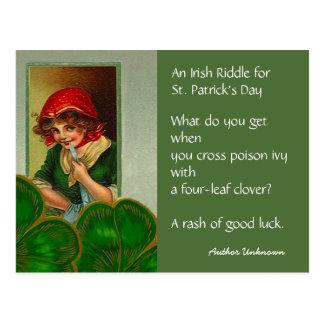 Vintage Irish Riddle St Patricks Day PC Postcards