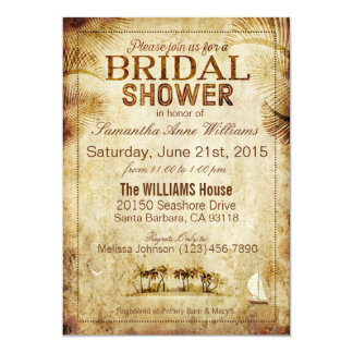 Vintage Island Destination Wedding Bridal Shower 13 Cm X 18 Cm Invitation Card