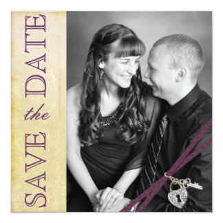 Vintage Ivory Paper & Purple Ribbon Save the Date Card
