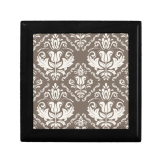 Vintage Ivory Taupe Damask Stylish Pattern Gift Box