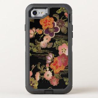 Vintage Japan Black Floral OtterBox Defender iPhone 8/7 Case